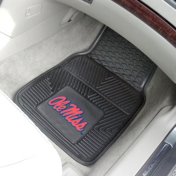 University of Mississippi (Ole Miss) Heavy Duty Vinyl Front Black Car Mat, Set of 2