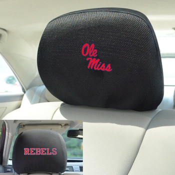 University of Mississippi (Ole Miss) Car Headrest Cover, Set of 2