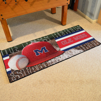 "30"" x 72"" Ole Miss Baseball Style Rectangle Runner Mat"