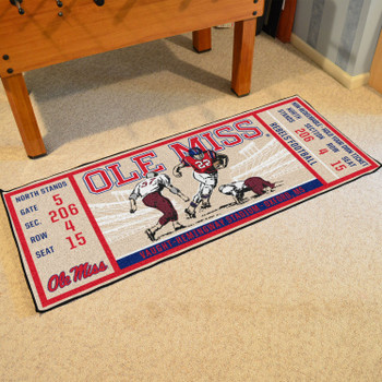 "30"" x 72"" University of Mississippi (Ole Miss) Ticket Rectangle Runner Mat"