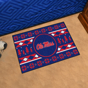 "19"" x 30"" University of Mississippi (Ole Miss) Holiday Sweater Blue Rectangle Starter Mat"
