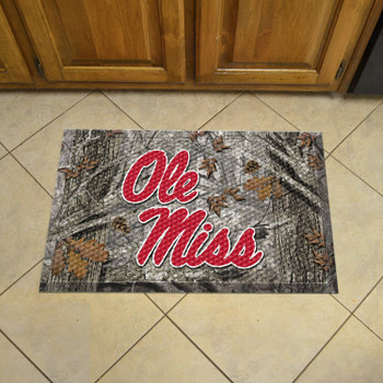 "19"" x 30"" University of Mississippi (Ole Miss) Rectangle Camo Scraper Mat - ""Ole Miss"" Script Logo"