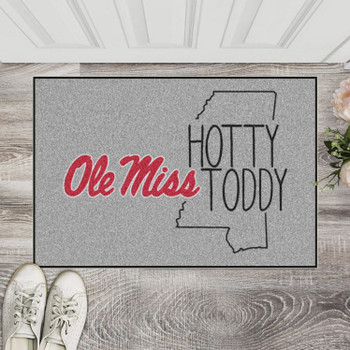 "19"" x 30"" University of Mississippi (Ole Miss) Southern Style Gray Rectangle Starter Mat"