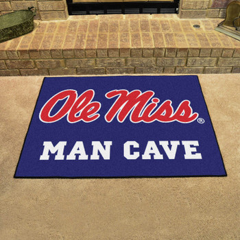 """33.75"""" x 42.5"""" University of Mississippi (Ole Miss) Blue Man Cave All-Star Rectangle Mat"""