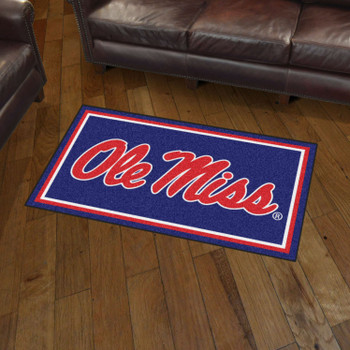 3' x 5' University of Mississippi (Ole Miss) Blue Rectangle Rug