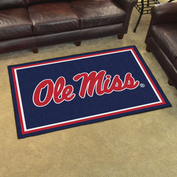 4' x 6' University of Mississippi (Ole Miss) Blue Rectangle Rug