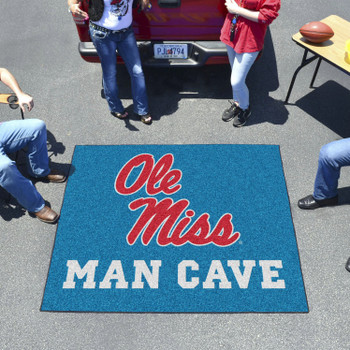 """59.5"""" x 71"""" University of Mississippi (Ole Miss) Man Cave Tailgater Rectangle Mat"""