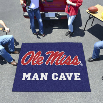 "59.5"" x 71"" University of Mississippi (Ole Miss) Blue Man Cave Tailgater Rectangle Mat"