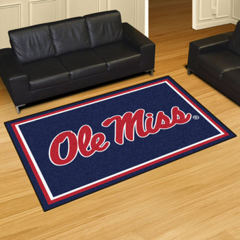5' x 8' University of Mississippi (Ole Miss) Blue Rectangle Rug