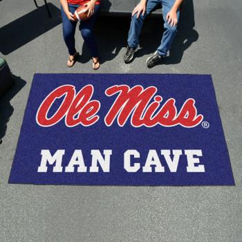 "59.5"" x 94.5"" University of Mississippi (Ole Miss) Blue Man Cave Rectangle Ulti Mat"