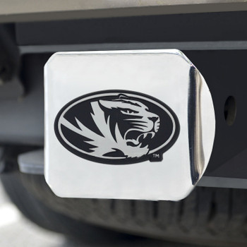 University of Missouri Hitch Cover - Chrome on Chrome