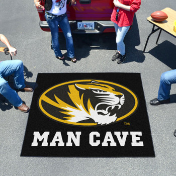 "59.5"" x 71"" University of Missouri Man Cave Tailgater Black Rectangle Mat"