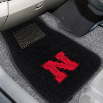 University of Nebraska Embroidered Black Car Mat, Set of 2