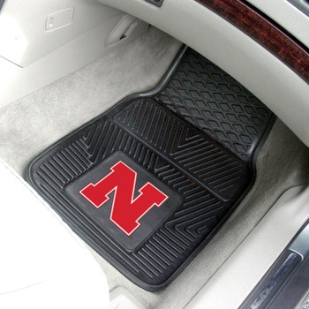 University of Nebraska Block N Logo Heavy Duty Vinyl Front Car Mat, Set of 2