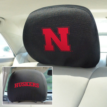 University of Nebraska Car Headrest Cover, Set of 2
