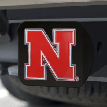University of Nebraska Hitch Cover - Color on Black
