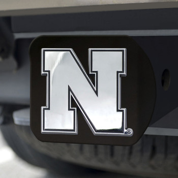 University of Nebraska Hitch Cover - Chrome on Black