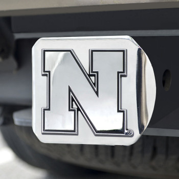 University of Nebraska Hitch Cover - Chrome on Chrome