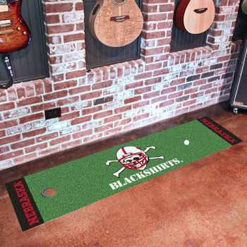 "18"" x 72"" University of Nebraska Blackshirts Logo Putting Green Runner Mat"