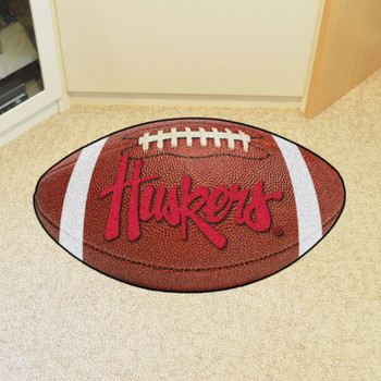"20.5"" x 32.5"" University of Nebraska Huskers Logo Football Shape Mat"