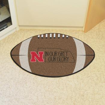"20.5"" x 32.5"" University of Nebraska Southern Style Football Shape Mat"