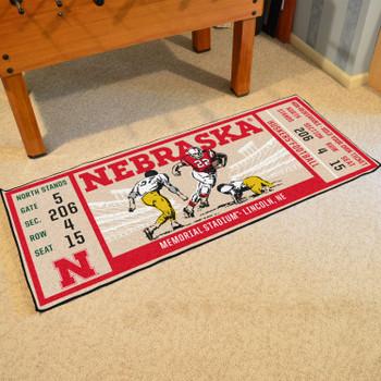 """30"""" x 72"""" University of Nebraska Ticket Rectangle Runner Mat"""