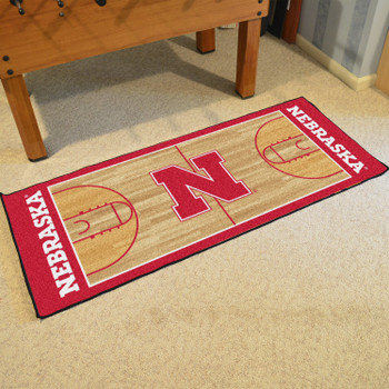 "30"" x 72"" University of Nebraska NCAA Basketball Rectangle Runner Mat"