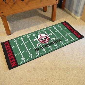 "30"" x 72"" University of Nebraska Blackshirts Logo Football Field Rectangle Runner Mat"