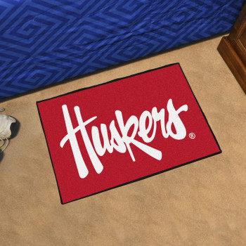 "19"" x 30"" University of Nebraska Huskers Logo Red Rectangle Starter Mat"