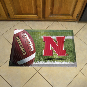 "19"" x 30"" University of Nebraska Rectangle Scraper Mat - ""Block N"" Logo"