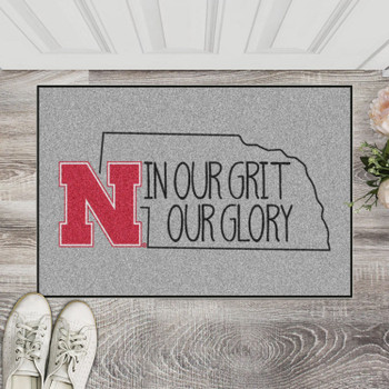 "19"" x 30"" University of Nebraska Southern Style Gray Rectangle Starter Mat"