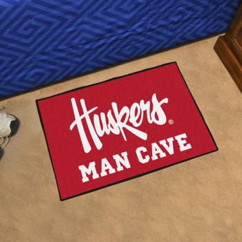 """19"""" x 30"""" University of Nebraska Huskers Logo Red Man Cave Starter Rectangle Mat"""