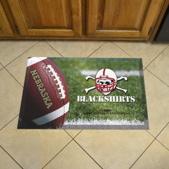 "19"" x 30"" University of Nebraska Rectangle Scraper Mat - ""Blackshirts"" Alternate Logo"