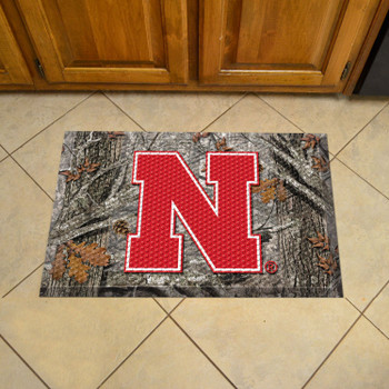 "19"" x 30"" University of Nebraska Rectangle Camo Scraper Mat - ""Block N"" Logo"