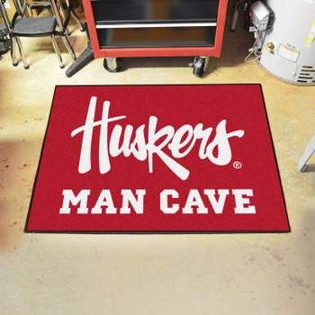 "33.75"" x 42.5"" University of Nebraska Huskers Logo Red Man Cave All-Star Rectangle Mat"