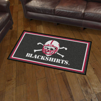 3' x 5' University of Nebraska Black Rectangle Rug