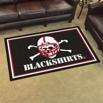 4' x 6' University of Nebraska Black Rectangle Rug