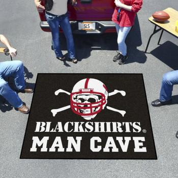 "59.5"" x 71"" University of Nebraska Black Man Cave Tailgater Rectangle Mat"