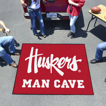 "59.5"" x 71"" University of Nebraska Huskers Logo Red Man Cave Tailgater Rectangle Mat"