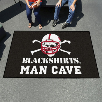 "59.5"" x 94.5"" University of Nebraska Black Man Cave Rectangle Ulti Mat"