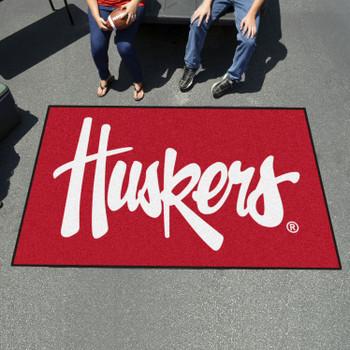 "59.5"" x 94.5"" University of Nebraska Huskers Logo Red Rectangle Ulti Mat"