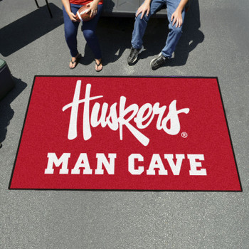 "59.5"" x 94.5"" University of Nebraska Huskers Logo Red Man Cave Rectangle Ulti Mat"