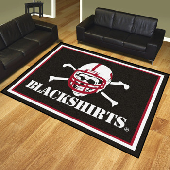 8' x 10' University of Nebraska Black Rectangle Rug