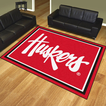 8' x 10' University of Nebraska Huskers Logo Red Rectangle Rug