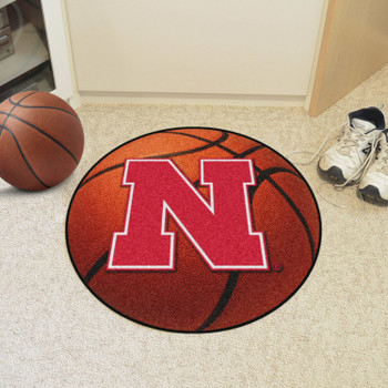 "27"" University of Nebraska Orange Basketball Style Round Mat"