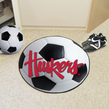"""27"""" University of Nebraska Huskers Logo Soccer Ball Round Mat"""