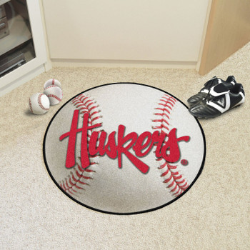"27"" University of Nebraska Huskers Logo Baseball Style Round Mat"