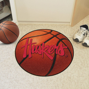 "27"" University of Nebraska Huskers Logo Orange Basketball Style Round Mat"