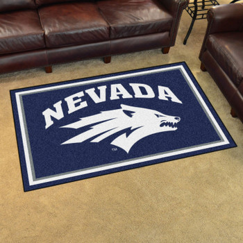 4' x 6' University of Nevada Navy Blue Rectangle Rug