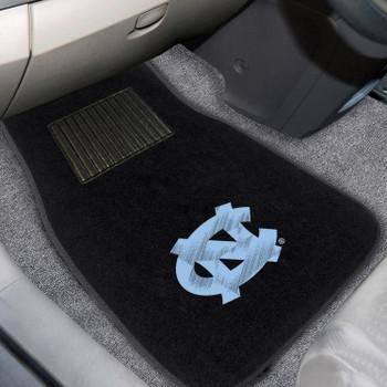 University of North Carolina Embroidered Black Car Mat, Set of 2